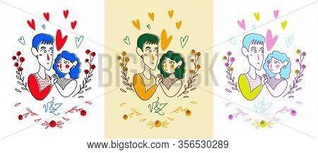 Heterosexual Man And Women Make Love, Two Follen In Love, Love Relationship. Different Color Illustr