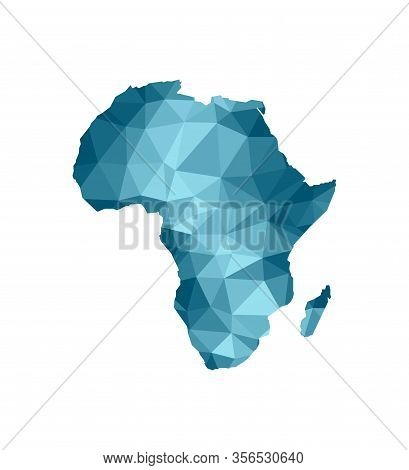 Vector Isolated Illustration Icon With Simplified Blue Silhouette Of Africa Map. Polygonal Geometric