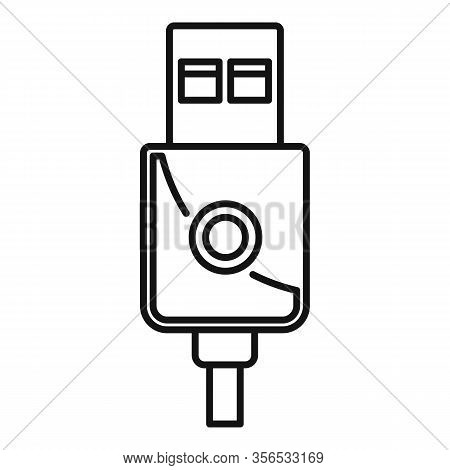 Modern Usb Cable Icon. Outline Modern Usb Cable Vector Icon For Web Design Isolated On White Backgro