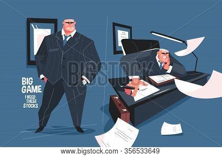 Big Boss On Workplace Vector Illustration. Evil