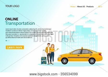 Taxi Service. Mobile Phone With Taxi App And Yellow Taxi. People Using Online Ordering Taxi Car Shar