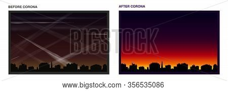 Contrails Before And After Coronavirus - Air And Light Pollution Caused By Many Condensation Trails
