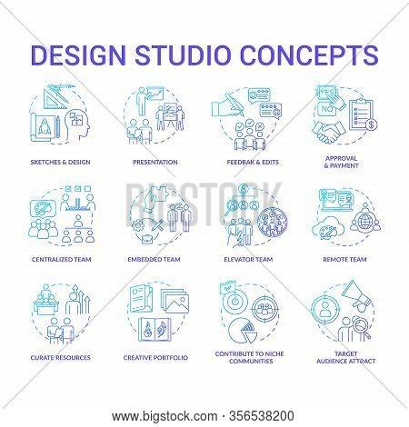 Design Agency, Workshop Concept Icons Set. Creative Studio Structure, Designer Teams And Creative Pr