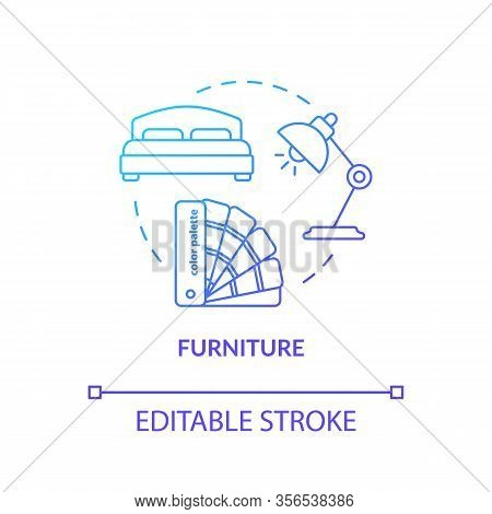 Room Furnishing Workshop Concept Icon. Furniture Design Studio Idea Thin Line Illustration. Interior