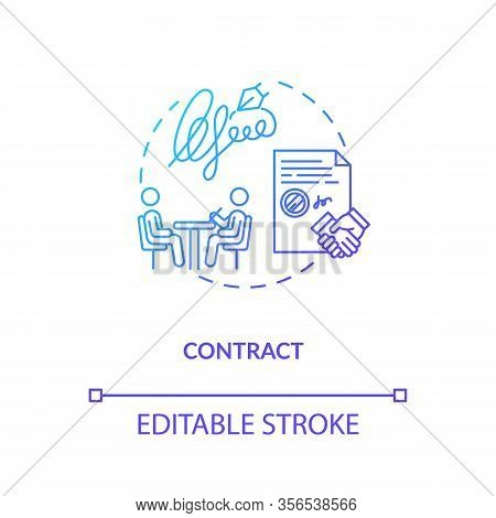 Contract, Official Agreement Concept Icon. Creative Brief, Employment Legal Document Idea Thin Line