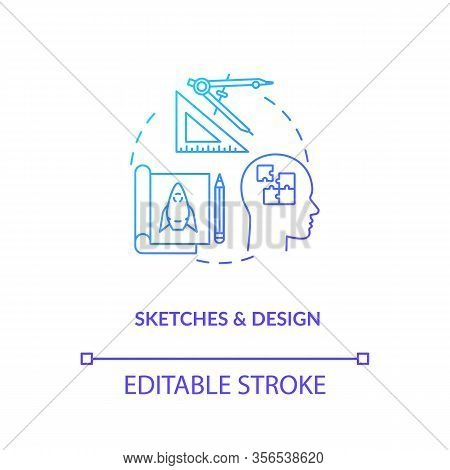 Groundwork, Sketches And Design Concept Icon. Paperwork, Plan Forming Idea Thin Line Illustration. C