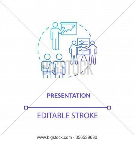 Presentation, Project Familiarization Concept Icon. Design Process, Work Samples Showing Idea Thin L