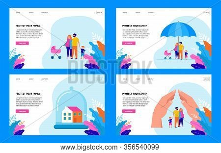 Stay At Home, Protect Your Family. Quarantine Area Concept, Vector Illustration