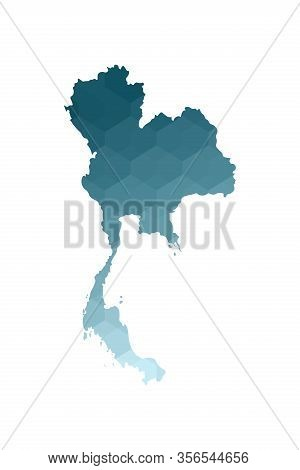 Vector Isolated Illustration Icon With Simplified Blue Silhouette Of Thailand (siam) Map. Polygonal