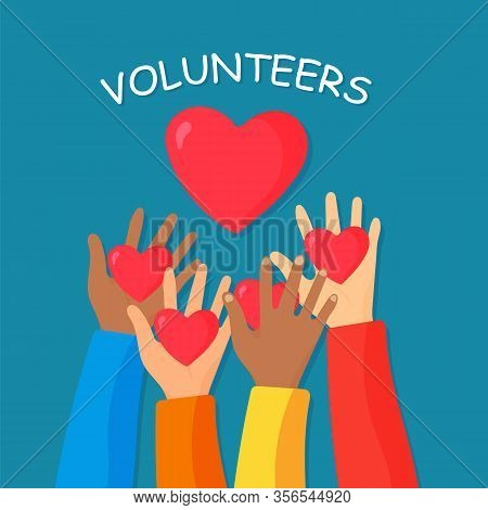 Hands Of Volunteers, Top View.donation, Charity And Volunteer Work.caring, Love, And A Good Hearted