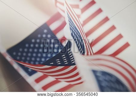 Row Of Small Identical American Flags, Decorative For Themes Of Summer, Pride, Americana, Usa Flag C