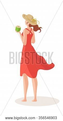 Beautiful Woman With Cocktail On Sea Beach In Summer Dress And Sun Hat Cartoon Vector Illustration I