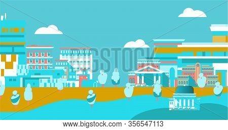 City Urban Skyline With Buildings Citizenship Flat Vector Illustration. Buildings Silhouette Citysca