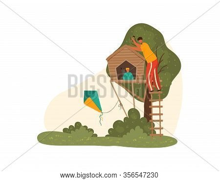 Happy Father Dad And Children Together At Nature Park In Summer Building Toy House On Tree For Kids,