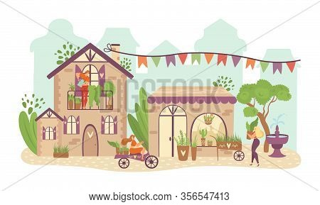 Green City, Ecology Infrastructure Town Buildings With Greenery Plants In Pots, Trees, Nature And Pe