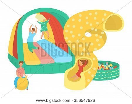 Children Birthday Party At Playground Boys And Girls Having Fun, Vector Illustration. Happy Kids In