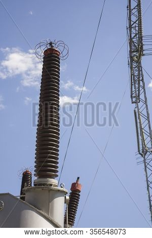 Energy Industry. Production, Distribution And Transmission Of Electricity. Power Lines. Power Substa