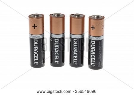 Varna, Bulgaria - March 15, 2020: Photo Of A Duracell Alkaline Batteries, Isolated On White. Duracel