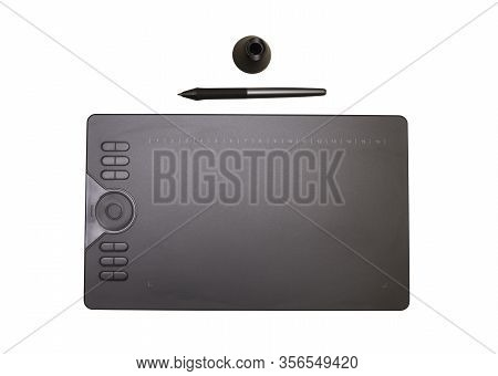 Graphic Tablet And Stylus With Stylus Stand On White Background, Isolated. Flat Lay, Tools For Graph