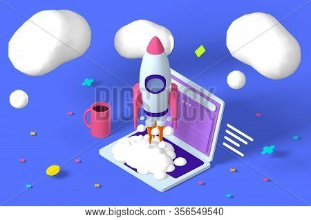 Project, Startup Strategy And Realization  Illustration. Launching Rocket 3d Cartoon Design. Clouds