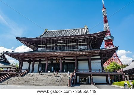 Tokyo, Japan, Asia - September 7, 2019 : View Of Zojoji Temple And The Tokyo Tower