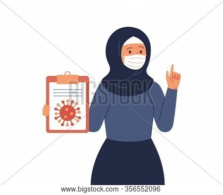 Arab Woman Wearing Hijab And Protective Face Mask Reports Information And News About The Viral Infec