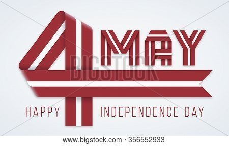 Congratulatory Design For May 4, Latvia Independence Day. Text Made Of Bended Ribbons With Latvian F