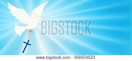 Abstract Dove Flying And Carrying A Christian Cross. Christian Symbol. Light Blue Background With Br