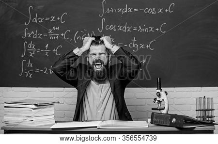 Oh No. Bearded Man Pull Hair Out In Anger. School Teacher Feel Anger. Anger Management. Flash Of Ang