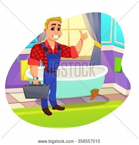 Able Workman, Skillful Plumber With Big White Toothy Smile In Working Cloths, Holding Tool Box In Ha
