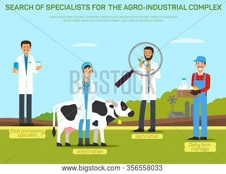 Agribusiness Workers Recruitment Banner Template. Hiring Agro-industrial Complex Specialists. Recrui
