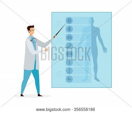 Anatomy Lesson, Class Cartoon Vector Illustration. Doctor Pointing On Body Parts And Human Internal