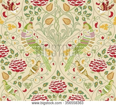 Vintage Flowers And Birds Seamless Pattern On Light Background. Middle Ages Style William Morris Bac