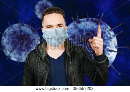 Man Wearing Protective Face Mask Prevent Virus Infection, Pollution With Idea Pointing Finger