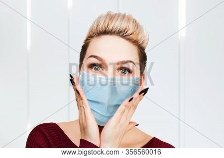 Young Woman Amazed Wearing Protective Face Mask Prevent Virus Infection, Pollution