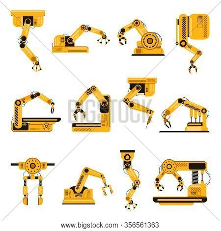 Robotic Arms. Manufacturing Industry Mechanical Robot Arm, Machinery Technology, Factory Machine Han