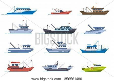 Fisherman Boats. Fishing Commercial Ships, Fisher Sea Boat For Ocean Water, Shipping Seafood Industr