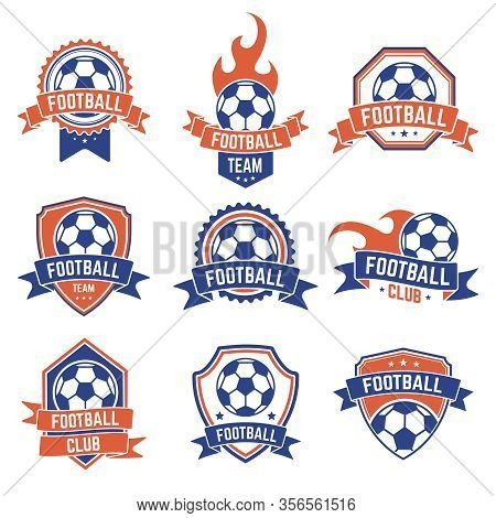 Soccer Club Emblem. Football Badge Shield Logo, Soccer Ball Team Game Club Elements, Soccer Competit