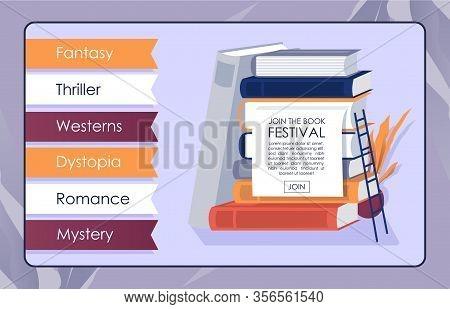 Bookshop Online App Mockup. Invitation Banner. Promo Text Join To Book Festival. Flat Paper Editoria
