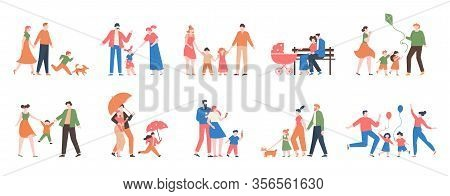 Family Walking. Relatives People Outdoor, Mom, Dad And Kids At Walk, Have Fun Together, Active Lifes