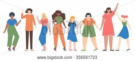 Women Diverse. Female Group Empowerment, Girls Team With Different Size And Skin Color, Diverseness