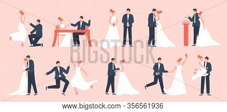 Wedding Couple. Marriage Bride And Groom, Newlyweds In Love, Young Family Dancing And Celebrating, M