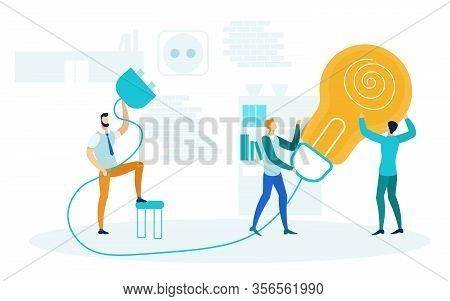Brainstorm, Startup Launch Vector Illustration. Businessmen Holding Huge Light Bulb Cartoon Characte