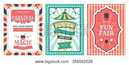 Retro Circus Poster. Vintage Circus Carnival Show Invitation, Holiday Party Flyer Templates, Magic C