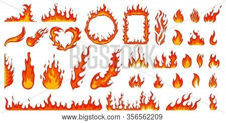 Cartoon Campfire. Fire Flames, Bright Fireball, Heat Wildfire And Red Hot Bonfire, Campfire, Red Fie