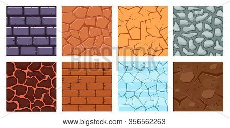 Cartoon Game Ground. Texture Game Brick Surface, Ice, Bricks Sandy Desert And Dirt Ground Layers For