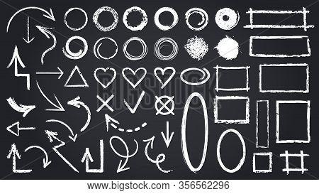 Sketch Chalk Elements. Sketch Chalkboard Elements, Hand Drawn Graphic Arrows, Frames, Round And Rect
