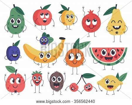 Fruit Character. Doodle Vegetarian Food Mascots, Happy Fruits Comic Emotions, Cute Apple, Banana And