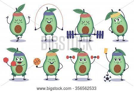 Avocado Fitness. Funny Doodle Avocado Character Do Sport, Meditation, Play Soccer, Sports Avocado Ma