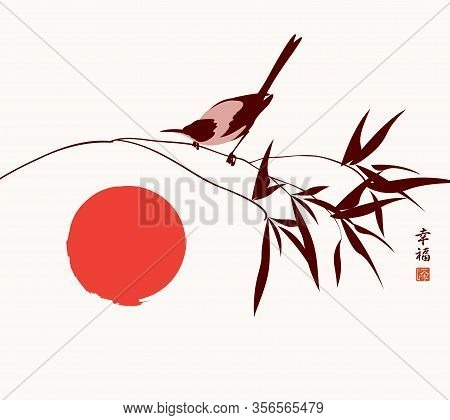 Vector Banner Or Card With An Inquisitive Magpie On A Branch And Red Sun. Decorative Illustration In